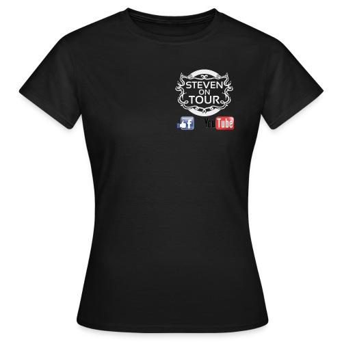 Steven on Tour T-Shirt Frauen schwarz, Logo weiß vorne und hinten - Frauen T-Shirt