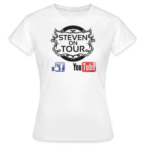 Steven on Tour T-Shirt Frauen weiß, Logo schwarz vorne - Frauen T-Shirt