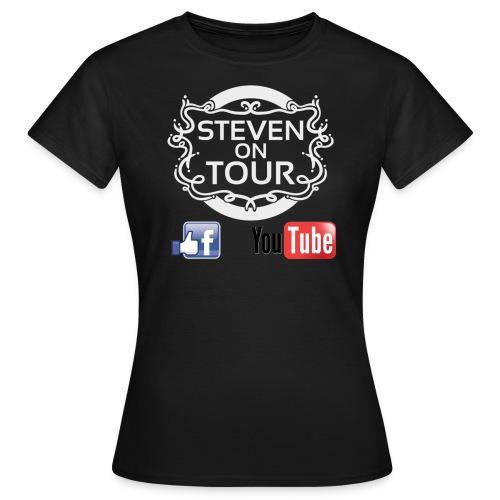 Steven on Tour T-Shirt Frauen schwarz, Logo weiß vorne - Frauen T-Shirt