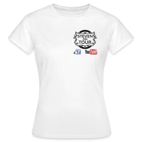 Steven on Tour T-Shirt Frauen weiß, Logo schwarz vorne und hinten - Frauen T-Shirt