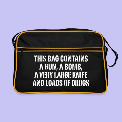 Gun, Bomb, Knife and Drugs Bag - Retro Bag