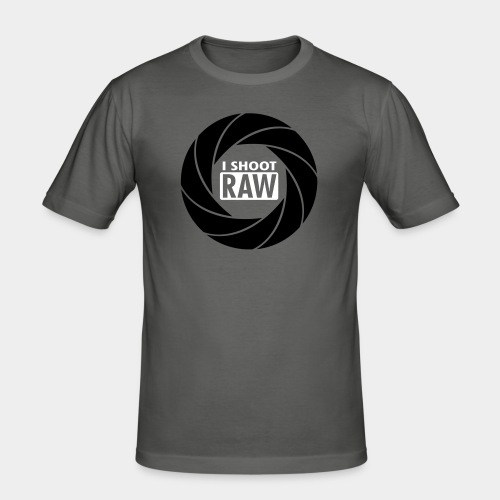 I SHOOT RAW - Black/White - Männer Slim Fit T-Shirt