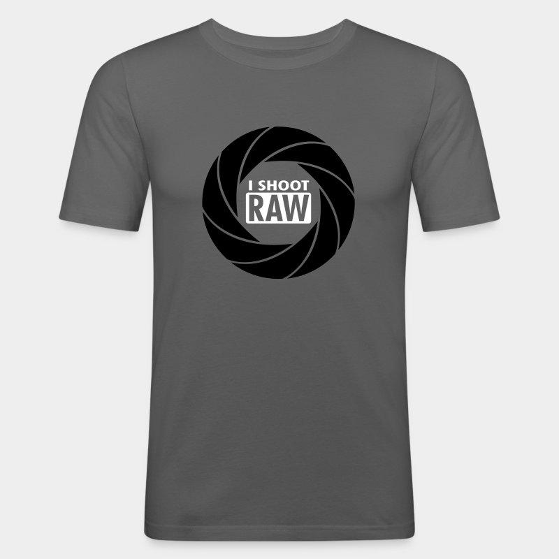 I SHOOT RAW - Black/White - Männer Slim Fit T-Shirt