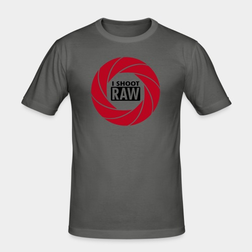 I SHOOT RAW - Red/Black - Männer Slim Fit T-Shirt