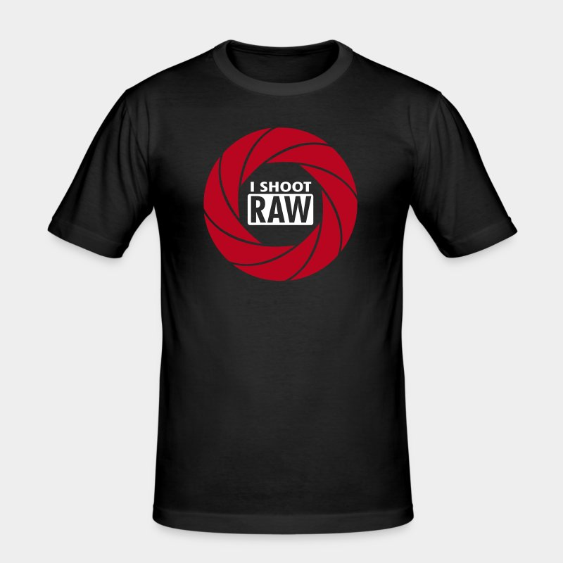 I SHOOT RAW - Red/White - Männer Slim Fit T-Shirt