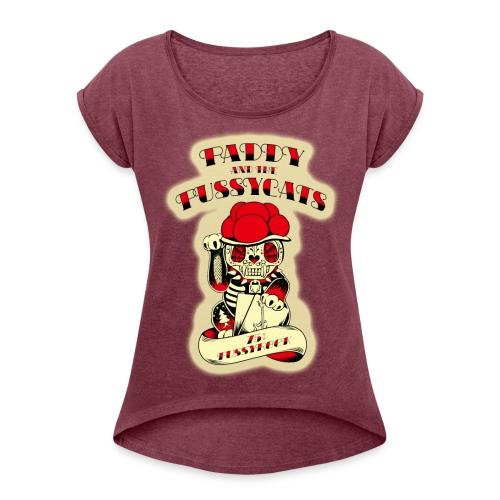 PATPC's-W1red - Frauen T-Shirt mit gerollten Ärmeln