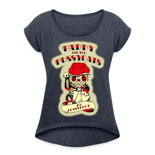 PATPC's-W1dblue - Frauen T-Shirt mit gerollten Ärmeln