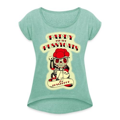 PATPC's-W1turq - Frauen T-Shirt mit gerollten Ärmeln