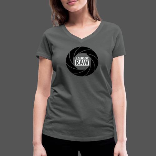 I SHOOT RAW - Black / White - Frauen Bio-T-Shirt mit V-Ausschnitt von Stanley & Stella