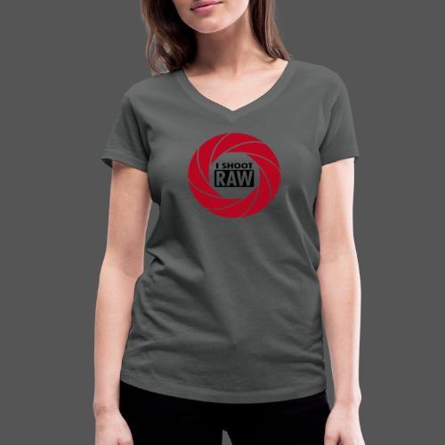 I SHOOT RAW - Red / Black - Frauen Bio-T-Shirt mit V-Ausschnitt von Stanley & Stella