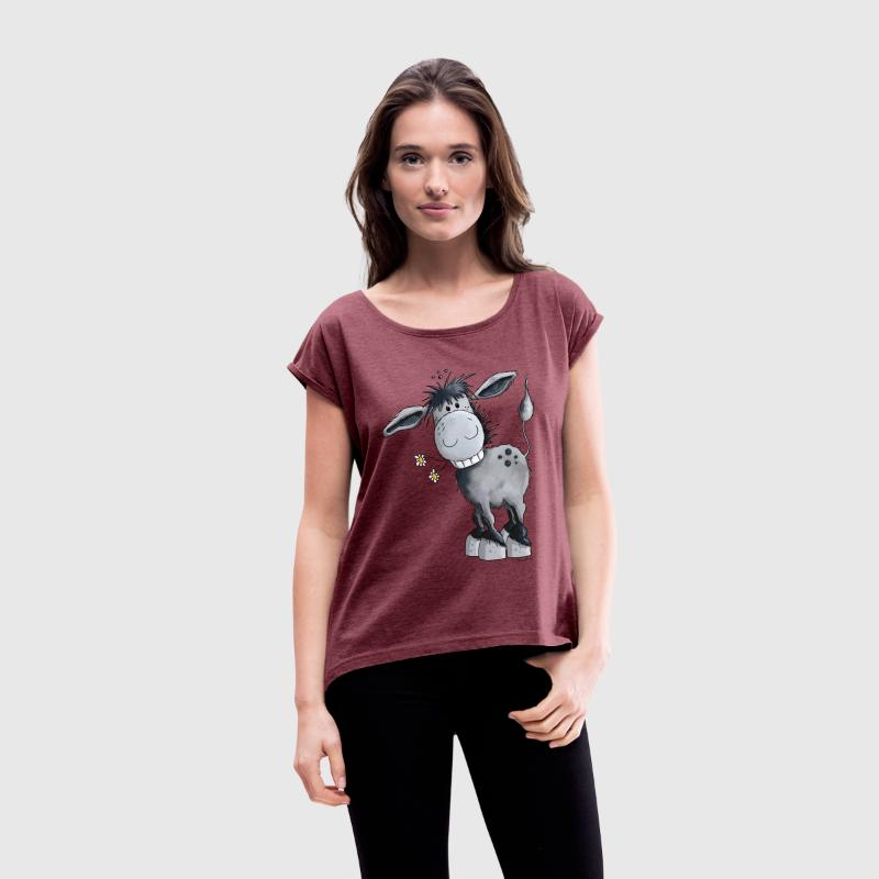 Funny Donkey T-Shirts - Women's T-shirt with rolled up sleeves
