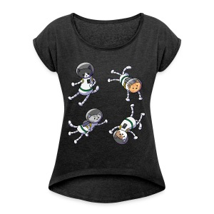Cats in SPACE! Women's Tee - Women's T-shirt with rolled up sleeves