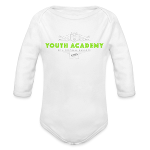 Babies Youth Academy One-Piece - White/Lime Green - Organic Longsleeve Baby Bodysuit
