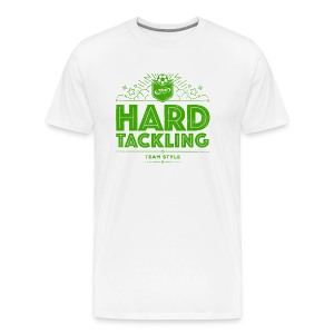 Men's Hard Tackling T-Shirt - White/Lime Green - Men's Premium T-Shirt