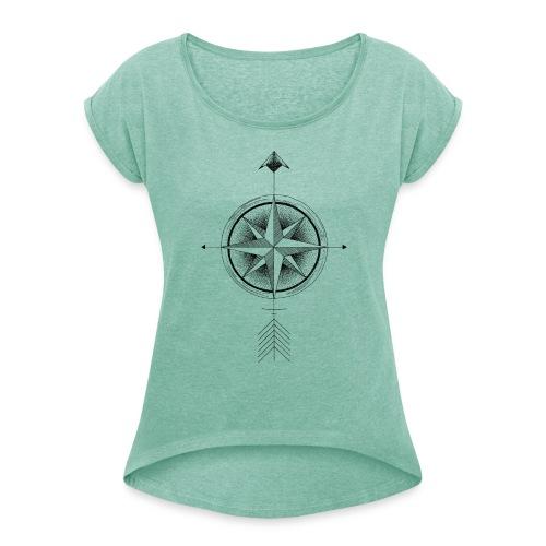 Kompass nach Norden - Frauen T-Shirt mit gerollten Ärmeln