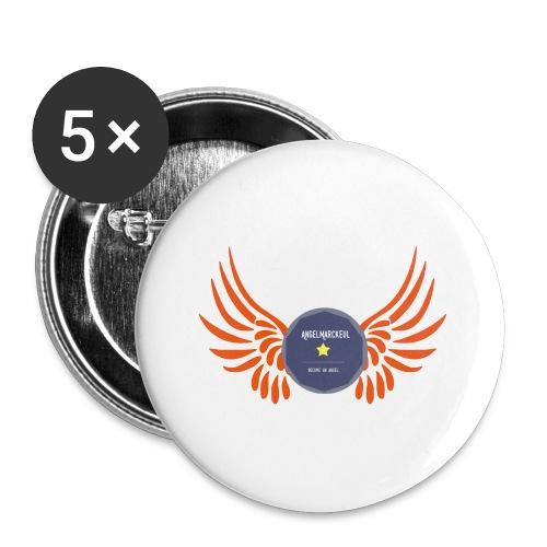 Pincs / badge / mixt / white & orange / multi / doublecolor - Badge moyen 32 mm