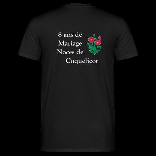 T shirt t shirt homme anniversaire de mariage noces de coquelicot 8 ans de mariage t shirt mariage - Anniversaire de mariage 8 ans ...