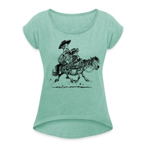 Thelwell Cowboy couple - Women's T-shirt with rolled up sleeves