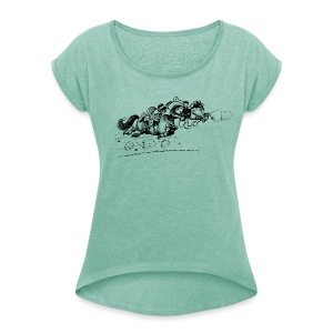 Thelwell Horse is running away - Women's T-shirt with rolled up sleeves