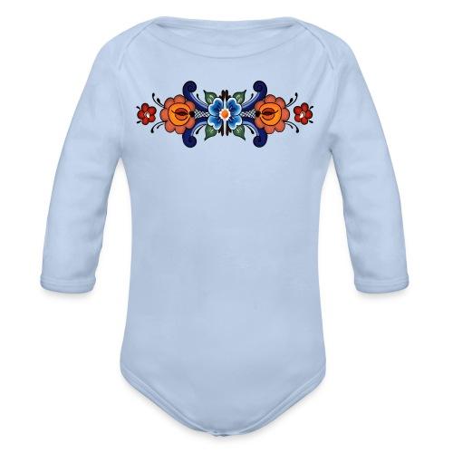 Rosemaling Baby - Økologisk langermet baby-body