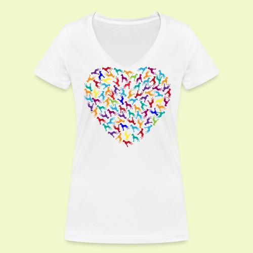Herz aus Doggen - Frauen Bio-T-Shirt mit V-Ausschnitt von Stanley & Stella