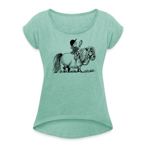 Thelwell - Penelope with mirror - Women's T-shirt with rolled up sleeves