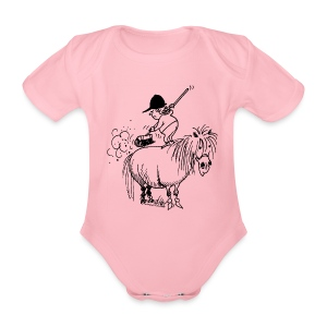 Thelwell Pony Cleaning - Organic Short-sleeved Baby Bodysuit