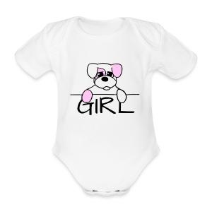 Hondje girl - Baby bio-rompertje met korte mouwen