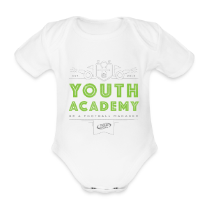Babies Youth Academy Bodysuit - White/Lime Green - Organic Short-sleeved Baby Bodysuit