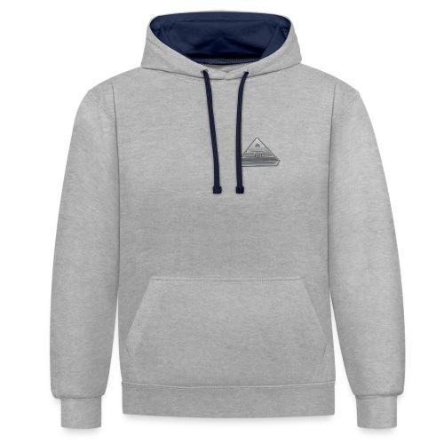 Grey/Blue Hoodie - Contrast Colour Hoodie