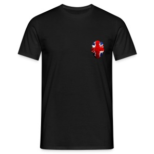 Borg Union flag MetaSkull with old skool red txt logo on back - Men's T-Shirt