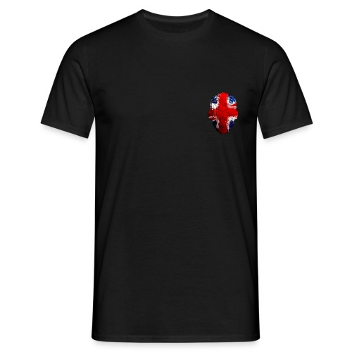 Borg Union flag MetaSkull with old skool red txt logo on back - Men's T-Shirt