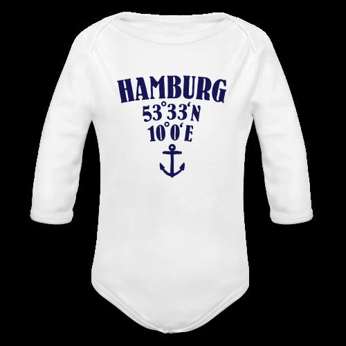 Hamburg Koordinaten (Anker) Babybody - Baby Bio-Langarm-Body