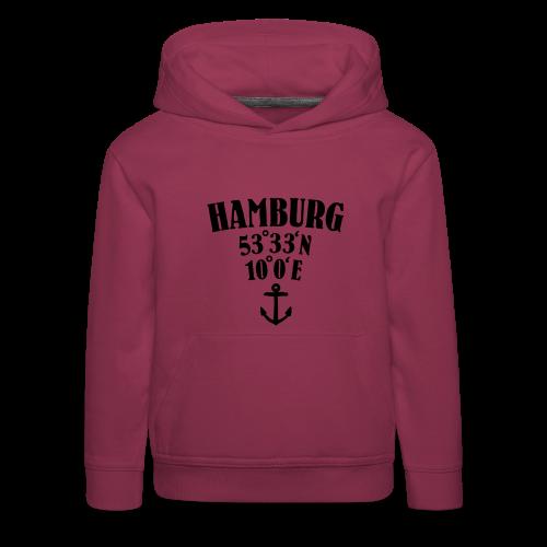 Hamburg Koordinaten (Anker) Kinder Hoodie - Kinder Premium Hoodie