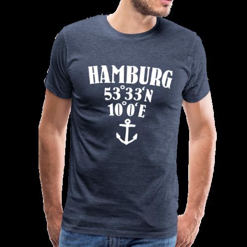 Hamburg Koordinaten (Anker) S-5XL T-Shirt - Männer Premium T-Shirt