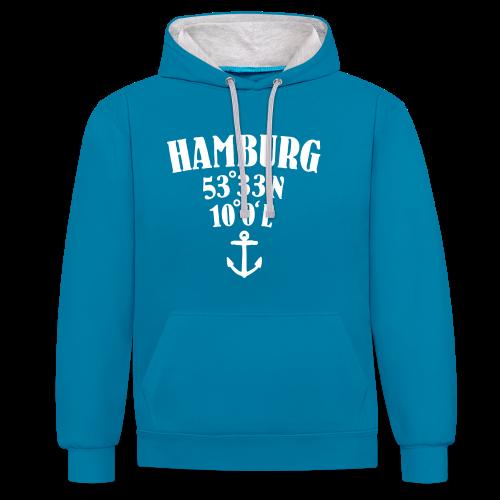 Hamburg Koordinaten (Anker) Kontrast Hoodie - Kontrast-Hoodie