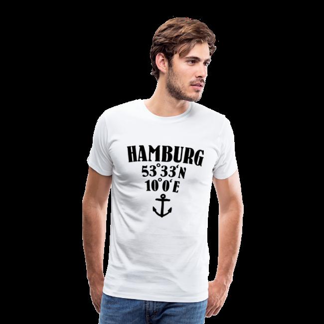 Hamburg Koordinaten (Anker) S-5XL T-Shirt