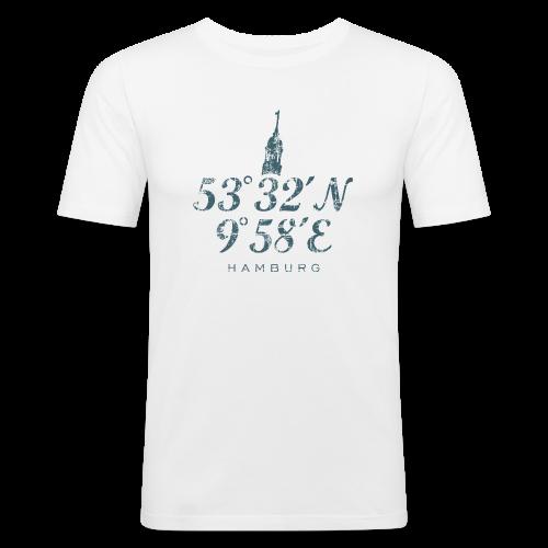 Hamburger Michel Koordinaten (Vintage Blau) Slim Fit T-Shirt - Männer Slim Fit T-Shirt
