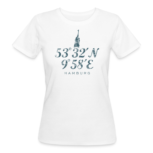 Hamburger Michel Koordinaten (Vintage Blau) Bio T-Shirt - Frauen Bio-T-Shirt
