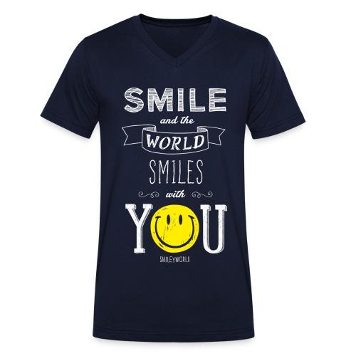 SmileyWorld Smile and the world smiles with you - Männer Bio-T-Shirt mit V-Ausschnitt von Stanley & Stella