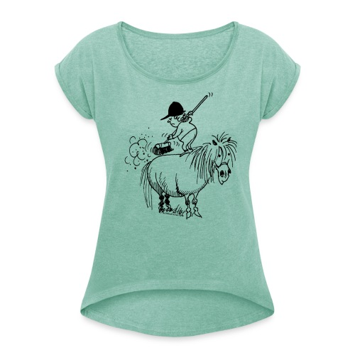 Thelwell Pony 'Spring leaning' - Women's T-Shirt with rolled up sleeves