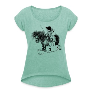 Thelwell Pony 'Winner's Rosttrum' - Women's T-shirt with rolled up sleeves