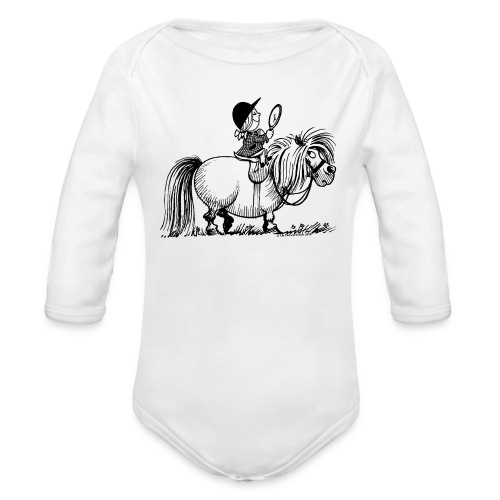 Thelwell Pony 'Penelope with mirror' - Organic Longsleeve Baby Bodysuit