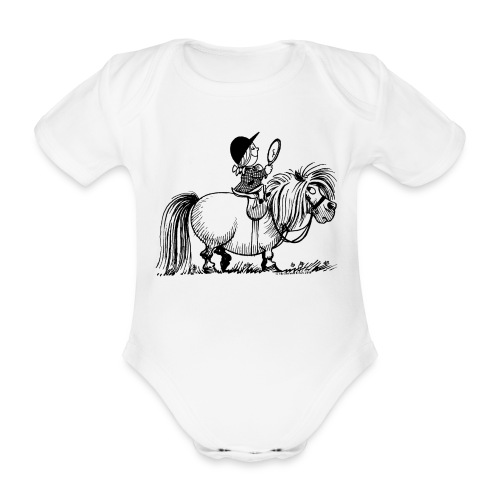 Thelwell Pony 'Penelope with mirror' - Organic Short-sleeved Baby Bodysuit