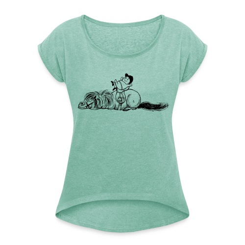 Thelwell Pony is sleeping - Women's T-Shirt with rolled up sleeves