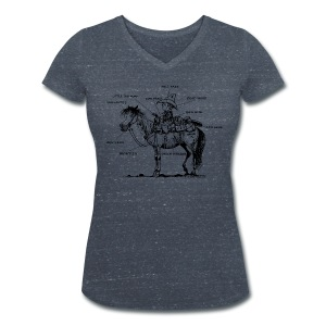 Thelwell Pony 'Western Riding school' - Women's Organic V-Neck T-Shirt by Stanley & Stella