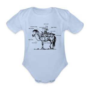 Thelwell Pony 'Western Riding school' - Organic Short-sleeved Baby Bodysuit
