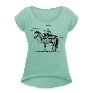 Thelwell Pony 'Western Riding school' - Women's T-shirt with rolled up sleeves