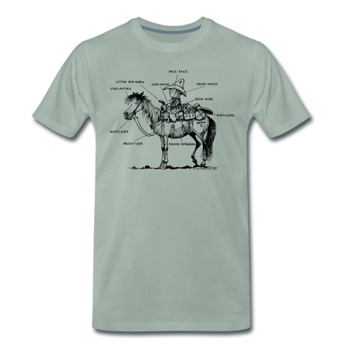 Thelwell Pony 'Western Riding school' - Men's Premium T-Shirt