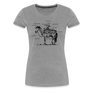 Thelwell Pony 'Western Riding school' - Women's Premium T-Shirt